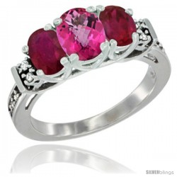 14K White Gold Natural Pink Topaz & Ruby Ring 3-Stone Oval with Diamond Accent