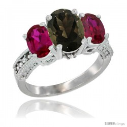 14K White Gold Ladies 3-Stone Oval Natural Smoky Topaz Ring with Ruby Sides Diamond Accent
