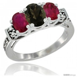 14K White Gold Natural Smoky Topaz & Ruby Ring 3-Stone Oval with Diamond Accent