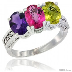 10K White Gold Natural Amethyst, Pink Topaz & Lemon Quartz Ring 3-Stone Oval 7x5 mm Diamond Accent