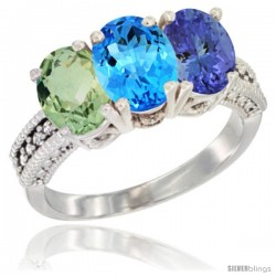 14K White Gold Natural Green Amethyst, Swiss Blue Topaz & Tanzanite Ring 3-Stone 7x5 mm Oval Diamond Accent