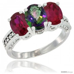 14K White Gold Natural Mystic Topaz & Ruby Sides Ring 3-Stone Oval 7x5 mm Diamond Accent