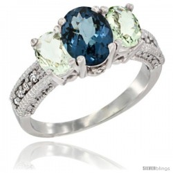 14k White Gold Ladies Oval Natural London Blue Topaz 3-Stone Ring with Green Amethyst Sides Diamond Accent