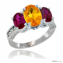 14K White Gold Ladies 3-Stone Oval Natural Citrine Ring with Ruby Sides Diamond Accent