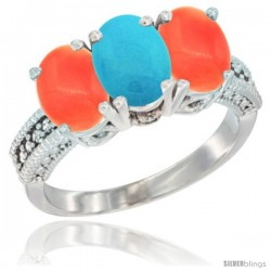 10K White Gold Natural Turquoise & Coral Sides Ring 3-Stone Oval 7x5 mm Diamond Accent