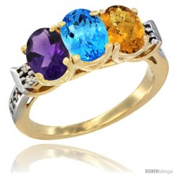 10K Yellow Gold Natural Amethyst, Swiss Blue Topaz & Whisky Quartz Ring 3-Stone Oval 7x5 mm Diamond Accent
