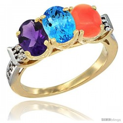 10K Yellow Gold Natural Amethyst, Swiss Blue Topaz & Coral Ring 3-Stone Oval 7x5 mm Diamond Accent