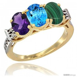 10K Yellow Gold Natural Amethyst, Swiss Blue Topaz & Malachite Ring 3-Stone Oval 7x5 mm Diamond Accent