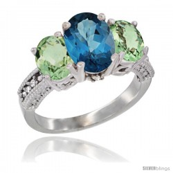 14K White Gold Ladies 3-Stone Oval Natural London Blue Topaz Ring with Green Amethyst Sides Diamond Accent