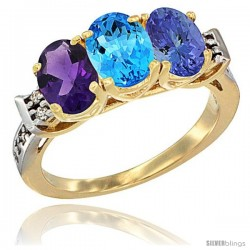10K Yellow Gold Natural Amethyst, Swiss Blue Topaz & Tanzanite Ring 3-Stone Oval 7x5 mm Diamond Accent