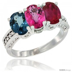 14K White Gold Natural London Blue Topaz, Pink Topaz & Ruby Ring 3-Stone 7x5 mm Oval Diamond Accent