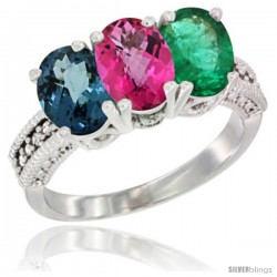 14K White Gold Natural London Blue Topaz, Pink Topaz & Emerald Ring 3-Stone 7x5 mm Oval Diamond Accent