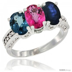 14K White Gold Natural London Blue Topaz, Pink Topaz & Blue Sapphire Ring 3-Stone 7x5 mm Oval Diamond Accent
