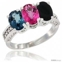 14K White Gold Natural London Blue Topaz, Pink Topaz & Black Onyx Ring 3-Stone 7x5 mm Oval Diamond Accent