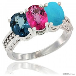 14K White Gold Natural London Blue Topaz, Pink Topaz & Turquoise Ring 3-Stone 7x5 mm Oval Diamond Accent