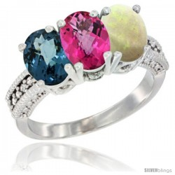 14K White Gold Natural London Blue Topaz, Pink Topaz & Opal Ring 3-Stone 7x5 mm Oval Diamond Accent