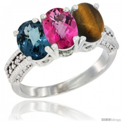 14K White Gold Natural London Blue Topaz, Pink Topaz & Tiger Eye Ring 3-Stone 7x5 mm Oval Diamond Accent