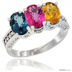 14K White Gold Natural London Blue Topaz, Pink Topaz & Whisky Quartz Ring 3-Stone 7x5 mm Oval Diamond Accent