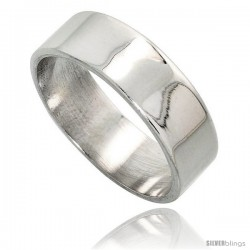 Sterling Silver 7 mm Flat Wedding Band