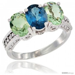 14K White Gold Natural London Blue Topaz & Green Amethyst Ring 3-Stone 7x5 mm Oval Diamond Accent