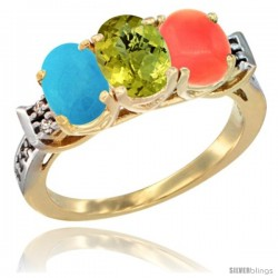 10K Yellow Gold Natural Turquoise, Lemon Quartz & Coral Ring 3-Stone Oval 7x5 mm Diamond Accent
