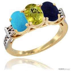 10K Yellow Gold Natural Turquoise, Lemon Quartz & Lapis Ring 3-Stone Oval 7x5 mm Diamond Accent