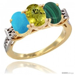 10K Yellow Gold Natural Turquoise, Lemon Quartz & Malachite Ring 3-Stone Oval 7x5 mm Diamond Accent