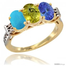 10K Yellow Gold Natural Turquoise, Lemon Quartz & Tanzanite Ring 3-Stone Oval 7x5 mm Diamond Accent