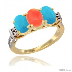 10K Yellow Gold Natural Coral & Turquoise Sides Ring 3-Stone Oval 7x5 mm Diamond Accent