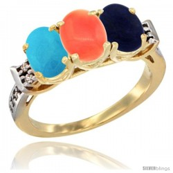 10K Yellow Gold Natural Turquoise, Coral & Lapis Ring 3-Stone Oval 7x5 mm Diamond Accent