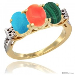10K Yellow Gold Natural Turquoise, Coral & Malachite Ring 3-Stone Oval 7x5 mm Diamond Accent