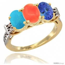 10K Yellow Gold Natural Turquoise, Coral & Tanzanite Ring 3-Stone Oval 7x5 mm Diamond Accent
