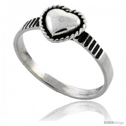 Sterling Silver Heart Ring 5/16 in wide
