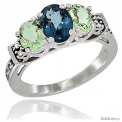 14K White Gold Natural London Blue Topaz & Green Amethyst Ring 3-Stone Oval with Diamond Accent