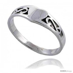Sterling Silver Celtic Knot Heart Ring 3/16 in wide