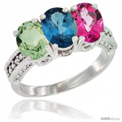 14K White Gold Natural Green Amethyst, London Blue Topaz & Pink Topaz Ring 3-Stone 7x5 mm Oval Diamond Accent
