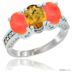 10K White Gold Natural Whisky Quartz & Coral Sides Ring 3-Stone Oval 7x5 mm Diamond Accent