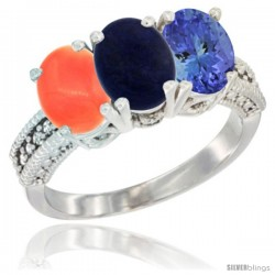 10K White Gold Natural Coral, Lapis & Tanzanite Ring 3-Stone Oval 7x5 mm Diamond Accent