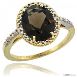 14k Yellow Gold Diamond Smoky Topaz Ring 2.4 ct Oval Stone 10x8 mm, 1/2 in wide -Style Cy407111