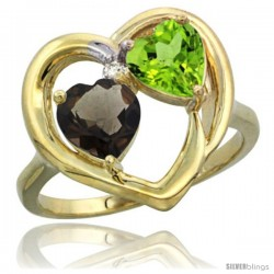 14k Yellow Gold 2-Stone Heart Ring 6mm Natural Smoky Topaz & Peridot Diamond Accent