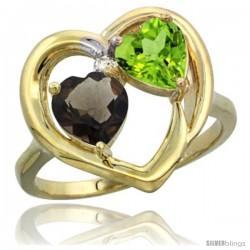 14k Yellow Gold 2-Stone Heart Ring 6mm Natural Smoky Topaz & Peridot Diamond Accent