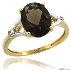 14k Yellow Gold Diamond Smoky Topaz Ring 2.4 ct Oval Stone 10x8 mm, 3/8 in wide