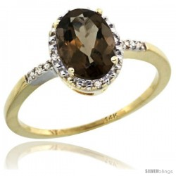 14k Yellow Gold Diamond Smoky Topaz Ring 1.17 ct Oval Stone 8x6 mm, 3/8 in wide