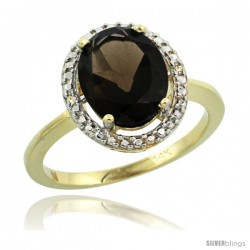 14k Yellow Gold Diamond Smoky TopazRing 2.4 ct Oval Stone 10x8 mm, 1/2 in wide