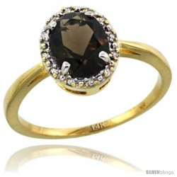 14k Yellow Gold Diamond Halo Smoky Topaz Ring 1.2 ct Oval Stone 8x6 mm, 1/2 in wide