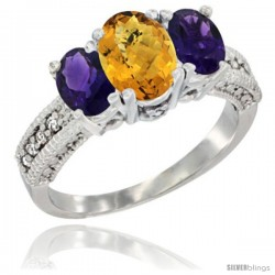 14k White Gold Ladies Oval Natural Whisky Quartz 3-Stone Ring with Amethyst Sides Diamond Accent