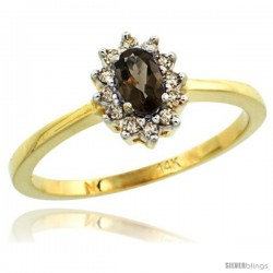 14k Yellow Gold Diamond Halo Smoky Topaz Ring 0.25 ct Oval Stone 5x3 mm, 5/16 in wide