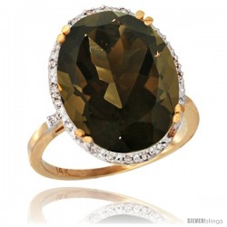 14k Yellow Gold Diamond Halo Large Smoky Topaz Ring 10.3 ct Oval Stone 18x13 mm, 3/4 in wide