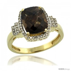 14k Yellow Gold Diamond Halo Smoky Topaz Ring 2.4 ct Cushion Cut 9x7 mm, 1/2 in wide
