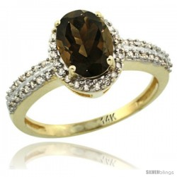 14k Yellow Gold Diamond Halo Smoky Topaz Ring 1.2 ct Oval Stone 8x6 mm, 3/8 in wide